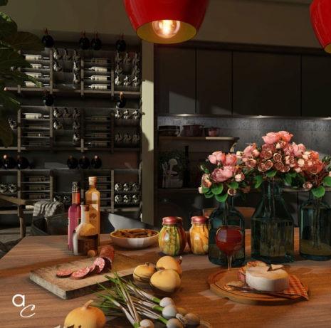 Scène 3D_Thème : Apéro Time Cuisine (Modèle Sketchup + Render Artlantis 2019)