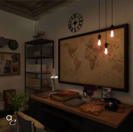 Scène 3D_Thème : Around the world_Bureau (Modèle Sketchup + Render Artlantis 2019)