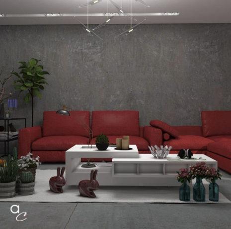 Scène 3D_Thème : Salon Rouge (Modèle Sketchup + Render Artlantis 2019)