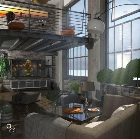 Scène 3D_Thème : «industrial loft» (Modèle Sketchup + Render Artlantis 2019)