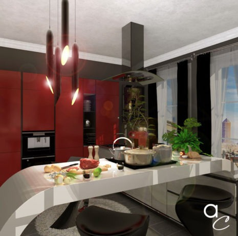 Scène 3D_Thème : «Cuisine» (Modèle Sketchup + Render Artlantis 2019)