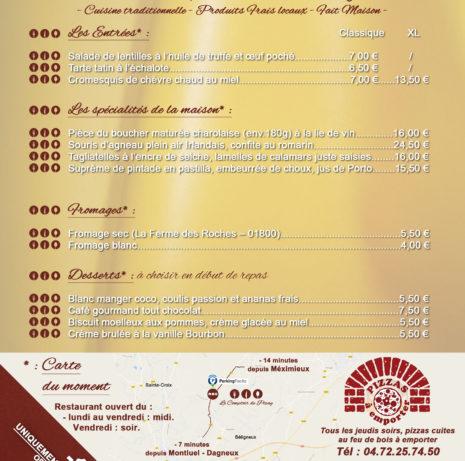 Flyer-Menu Repas_Le Comptoire de Pizay